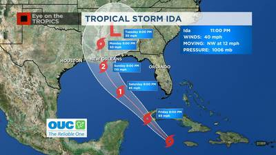 Tropical Storm Ida forms in Caribbean Sea, hurricane watches issued for northern Gulf Coast