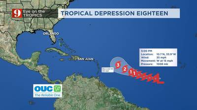 """VIDEO: Tropical Depression 18 expected to reach major hurricane status but taking """"its time"""""""