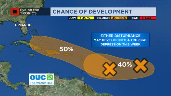 Two tropical disturbances moving across Atlantic, one may develop into tropical depression