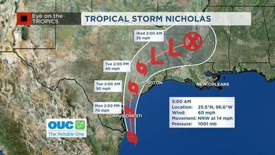 VIDEO: Tropical Storm Nicholas strengthens, could become a hurricane before hitting land