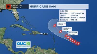 Video: Sam strengthens to Category 4 Hurricane