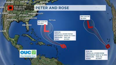 Video: Tropical Storm Rose forms to join Peter in the Atlantic