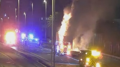 Video: Large semi fire shuts down lanes of Florida's Turnpike on Saturday