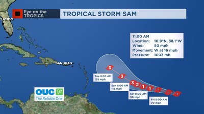 Video: Tropical Storm Sam forms in the Atlantic