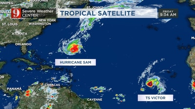 Hurricane Sam to pass well east of Bermuda; Tropical Storm Victor continues to strengthen
