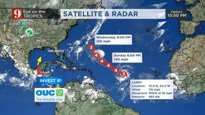 Hurricane Larry strengthens into Category 3 storm, expected to stay east of Florida
